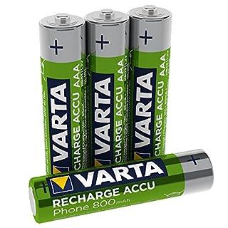 Varta Recharge Accu Phone AAA Micro 800 mAh Ni-Mh Akku (geeignet für schnurlose Telefone, 4er Pack)