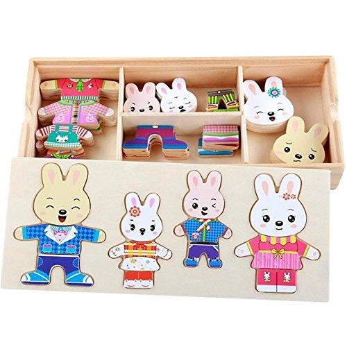 s Holz Kaninchen-Familie Dress-Up Puzzle mit Aufbewahrungskoffer Puzzle Holzspielzeug Educational die Kleidung zu wechseln Spielzeug ()