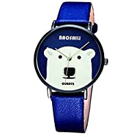 BAOSAILI Big White Bear Design Animal Cartoon Watch For Girls with bllue leather