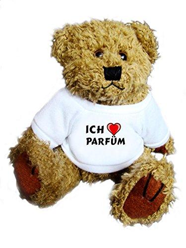 Preisvergleich Produktbild Teddybär mit einem T-shirt mit Aufschrift Ich liebe Parfüm , Größe 18 cm
