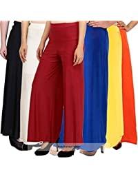 Pixie Casual Wear Pant Palazzo Combo (Pack of 6) Black, White, Maroon, Blue, Yellow and Orange - Free Size