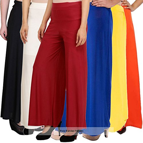 Pixie Stylish Casual Wear Malai Lycra Pant Palazzo Combo (Pack of 6)...
