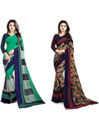Omkar Fab Women's Faux Georgette Multi Color Printed Combo Saree With Blouse Piece (Combo Of 2_1285_1287_Multicolour_Free...