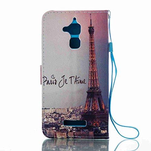 Zenfone 3 MAX Hülle Case Leder, Alfort Handyhülle Ledertasche Bookstyle PU Lederhülle Flip Cover Tasche Schutzhülle für Asus Zenfone 3 Max ZC520TL ( 5,2 Zoll ) Klapphülle Brieftasche Flexible Silikon  Eiffelturm