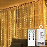 ABREOME 10 Stück LED Lichterketten Vorhang Leuchtvorhang,mit Twinkle Sternen Licht String Lichterkette Batterie Romantische Deko für Party,Hochzeit,Weihnachten,Indoor&Outdoor(300 LEDs-6.3ft-Warmweiß)
