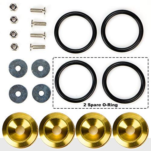JDM Schnellverschluss für Stoßstange, Verschlüsse vorne hinten Stoßstangen, 4 Stück (Golden)