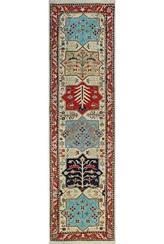 Teppich Nuri Handarbeit Bereich Teppich, Wolle, elfenbeinfarben/Rot, 2'17,8cm X 9' 12,7cm (Teppich Bereich Traditionellen Elfenbein)