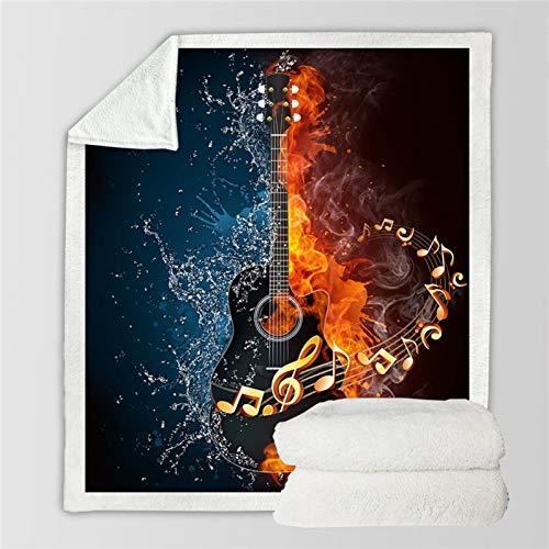 MegOK Feuer Und Wasser Sherpa Decke Gitarre Bass Plüsch Weiche Decke Musik Dünne Quilt für Jugend 3D Gedruckt Bettwäsche-1,150 cm x 200 cm - E-gitarre Feuer
