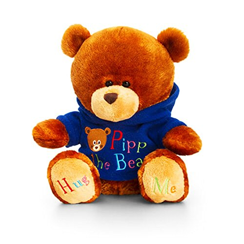 Keel Toys 20cm Pipp The Bear Plush Toy with Blue Hoody (20cm) (Brown/Blue)