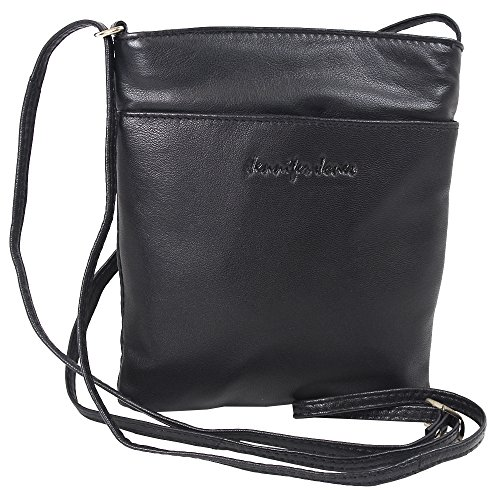 Jennifer Jones Taschen Damen 100% Leder Damentasche Handtasche Schultertasche Umhängetasche Tasche klein Crossbody Bag grau / schwarz / taupe (6124) (Schwarz) (Lange Tasche Schwarze)