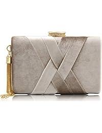 ORPIO Women's Velvet Suede Tassel Elegant Evening Clutch Bag
