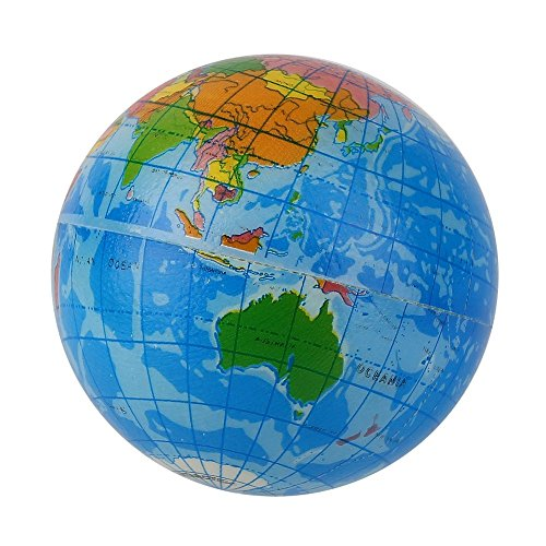 m Earth Globe Stress Relief Bouncy Ball Atlas Geography Toy TH092 Blue ()