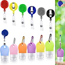 18 Pieces Silicone Travel Bottle Keychain Set, 6 Silicone Bottle Refillable Travel Bottle Portable Empty Bottle, 6 Badge Reel Holder, 6 Climbing Hook D-Ring Keychain Clip for Outdoor Sports Travel