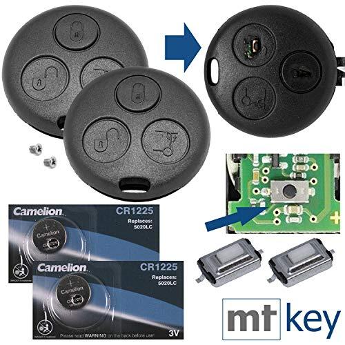 Chiave auto radiocomando a distanza 2x custodia + 6x micro pulsante + 2x batteria CR1225 + 2x vite adatta per SMART 450 1998-2007