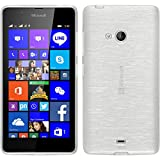 PhoneNatic Coque en Silicone pour Microsoft Lumia 540 Dual - brushed blanc - Cover Cubierta + films de protection