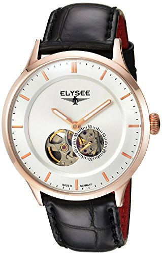 Elysee Nestor Mens Watch Rose Gold with Black Leather Strap