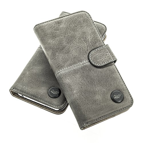QIOTTI > SAMSUNG GALAXY A3 (2015) < incl. PANZERGLAS H9 HD+ Booklet Wallet Case Hülle Premium Tasche aus echtem Kalbsleder mit KARTENFÄCHER. SMART KOLLEKTION (GRAU) (Tasche Herren Piel)