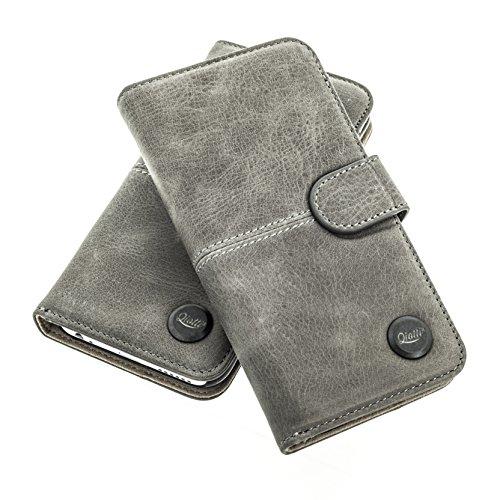 Black Magic Wallet (QIOTTI > SAMSUNG GALAXY A3 (2015) < incl. PANZERGLAS H9 HD+ Booklet Wallet Case Hülle Premium Tasche aus echtem Kalbsleder mit KARTENFÄCHER. SMART KOLLEKTION (GRAU))