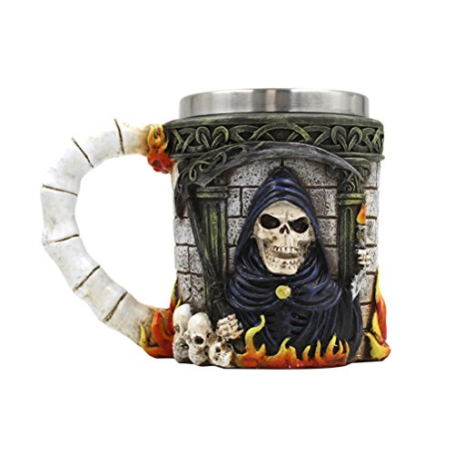 OUNONA Cool - Acero inoxidable, jarra de café, diseño 3D, calavera encapuchada