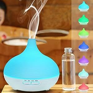 Tepoinn 100/300ml Umidificatore ad Ultrasuoni / Diffusore di Aromi / Diffusore di Oli Essenziali, 7 colori LED(bianco) (300ml)