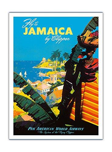 jamaique-par-clipper-avion-pan-american-world-airways-pan-am-airline-affiche-vintage-de-voyage-vinta