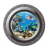 Hrph 3D-Wand-Aufkleber Unterwasserwelt Submarine Fische PVC-Wandabziehbild -Kunst für Poster Sofa Wanddekoration