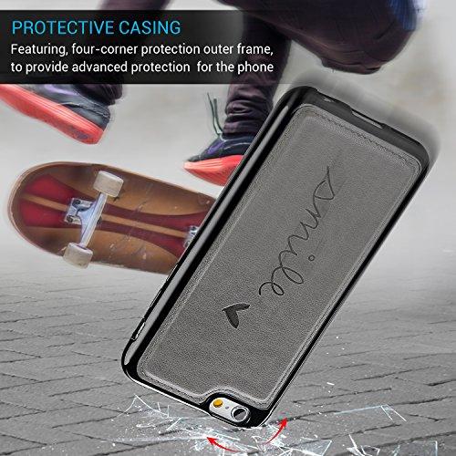 iPhone 6 Cover, iPhone 6s Custodia Pelle Premium PU e Silicone TPU Case [2 in 1, Separato] - Pincenti Flip Custodia Morbido Leather,Goffratura Amare, Chiusura Magnetica, Supporto Stand, Portafoglio Po Grigio