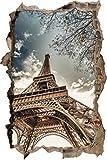 Pixxprint 3D_WD_S2334_92x62 riesiger Pariser Eiffelturm Wanddurchbruch 3D Wandtattoo, Vinyl, bunt, 92 x 62 x 0,02 cm