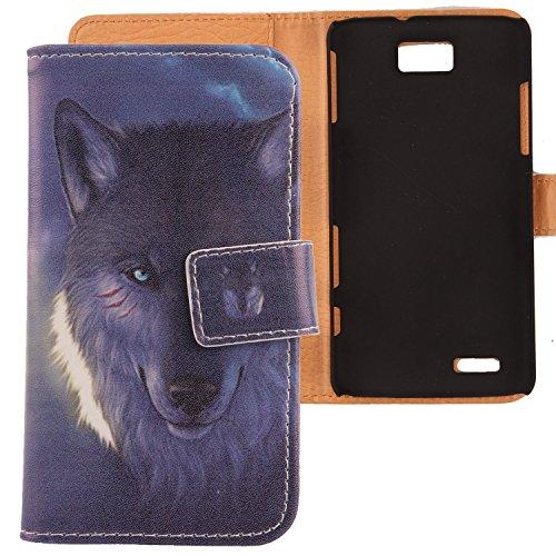 Lankashi PU Flip Leder Tasche ZTE Grand Memo V9815 N5 Wolf