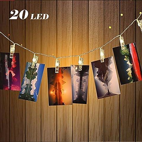 Wedna 20 LED Foto Clips Lichterketten Warmweiß 2,2 Meter/7,21 Füße batteriebetrieben, Perfekt für Hängende Bilder, Valentinstag, Artwork, Memos und Party