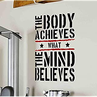 The Body Achieves Gym Motivational Wall Decal Quote 5 colour options (black text/red stripes, 57cm w x 1mtr h)