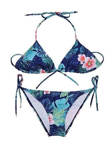 Ekouaer Damen Blumen Triangel Bikini-Set Push up Badenanzug Reizvolle Bademode Neckholder Swimsuit zweiteilig Beachwear Swimsuit, Grün, EU 36(Herstellergröße: S)