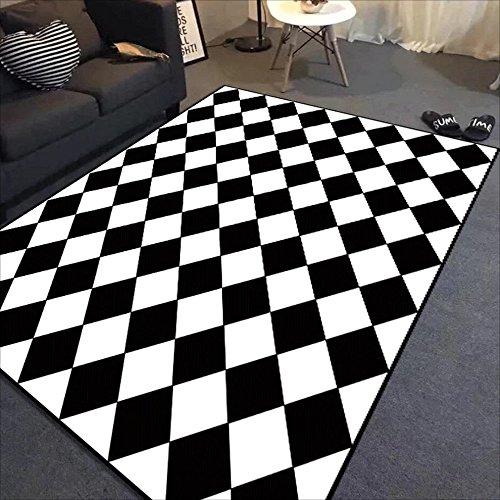 LILY Rechteckige gestreifte Schwarzweiss-Wolldecken, Polyester-Teppich, Wohnzimmer-Schlafzimmer-Studien-Teppich ( Color : B , Größe : 140*200cm ) Outdoor-läufer Teppich 2 X 14