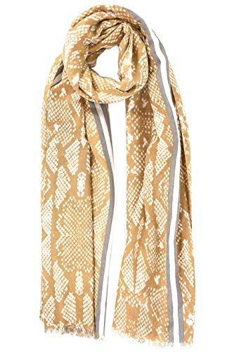 Style Slice Schlangenmuster Damen Schal Frühling Sommer - Gelb Rot Blau Grau Rosa - Viskose - Tuch Tücher Elegant Leicht XXL Groß Oversized - Snake Print - UK - Geschenk für sie (Gelb/Grau)