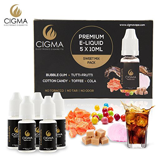 CIGMA 5 X 10ml E Liquid Sweet Mix NEW FLAVOURS | Bubble Gum | Tutti-Frutti | Lemon Soda | Butterscotch | Cola | New Premium Quality Forumla with Only High Grade Ingredients | VG & PG Mix | Made For Electronic Cigarette and E Shisha