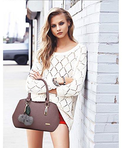 NICOLE&DORIS Le donne elegante maniglia superiore della borsa del messaggero della borsa della spalla del Tote casuale del lavoro Satchel Zipper Nero viola