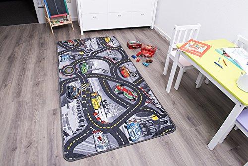 Kinderteppich mit Stadt zum Spielen, 140x200cm ✓ Schadstoffgeprüft ✓ Anti-Schmutz-Schicht | Auto-Spielteppich, Auto-Teppich für Jungen & Mädchen | Fußbodenheizung geeignet