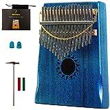 Walter.D Caoba Tono Madera Kalimba, Profesional 17 Llaves Acústico dedo Pulgar Piano Música Regalo (Azul Oceano)