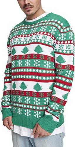 Urban Classics Herren Snowflake Christmas Tree Sweater Sweatshirt, Mehrfarbig (Evergreen/White/Firered 01567), Medium Christmas Tree Jumper