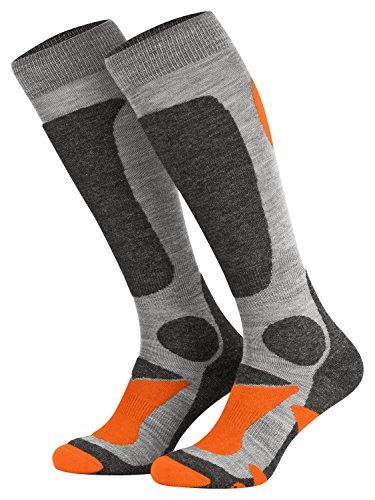 Piarini 2 Paar Unisex Skisocken Skistrumpf Herren, Damen und Kinder für Wintersport, Snowboard atmungsaktive Knie-Strümpfe Farbe Grau-Orange Gr.47-50