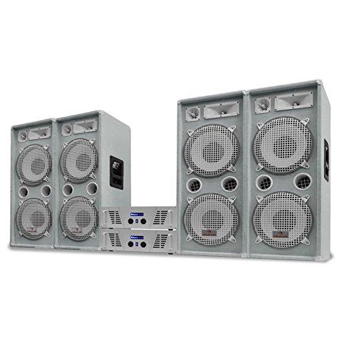 DJ set 'Arctic Ice Pro' Imapianto PA completo altoparlanti 4000 Watt (4 x Casse 500 Watt RMS, 2 x amplificatori finali MOSFET, Cavi per collegamento)