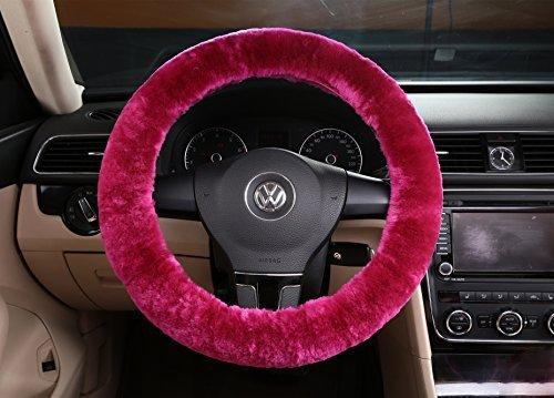 Silence Shopping Pure laine Peluche Stretch-sur la couverture du volant de voiture Protecteur de roue de voiture classique (Rose)