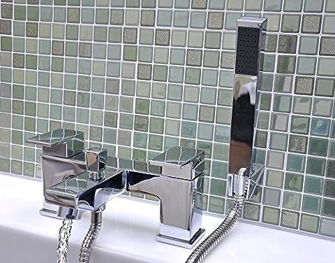 Bath Basin Filler Tap & Shower Head Chrome Bathroom Luxury Square Hand Held Shower Mixer Mono Bloc Cascade Valve Faucet Set LIFETIME WARRANTY - Harvey