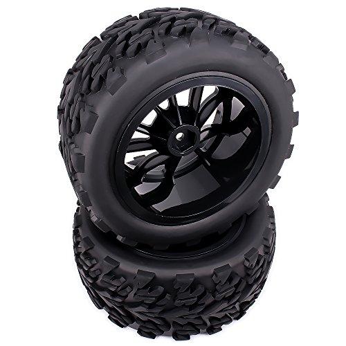 RCAWD Rad Felge Pfeil Reifen Komplett 10 Speichen Kunststoff für Rc Auto 1/10 Monster Truck Big Foot HSP Maverick HPI Kyosho 4Pcs(Schwarz)