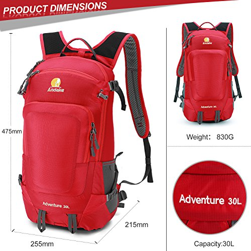 Andake Back Pack, Ultralight & Durable 30L Daypack With Rain Cover Suit AS Hiking Back Pack & Laptop Back Pack, Best for Daily Life, Campeggio, Hiking and Travelling (Rosso) Rosso