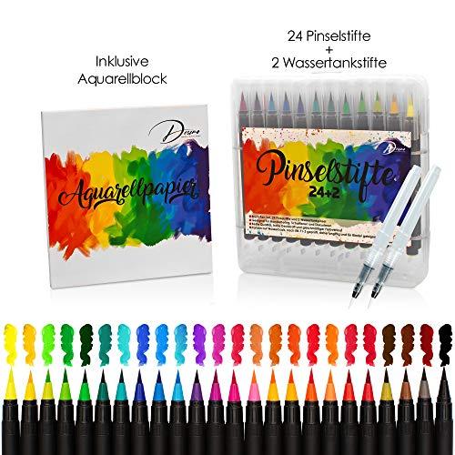 Desimo Premium Pinselstifte - 38er Set - kostenloser Aquarellpapierblock - 24 intensive Aquarellstifte, 2 Wassertankpinsel - für Anfänger und Profis