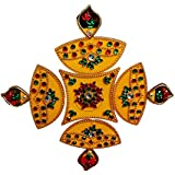 Handmade Elegantly Designed Yellow Rangoli - With Diya Shaped Design Decorated With Stones And Beads On Yellow Elongated Square Shaped Plastic Base - 5 Pieces Set - Packed In Transparent Pouch