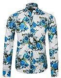 APTRO Chemise Homme Manches Longues à Fleurs Imprimées Pur Coton Luxueux Classique Original