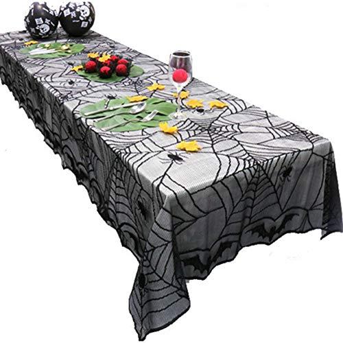 Halloween-Tischdecke,Knospenseidentuch, Material 100% Polyester, Kettengewirktes Gestricktes Seidennetz, Größe: 122 * 244CM, Halloween-PARTY-Dekoration