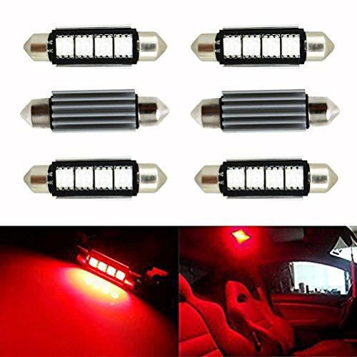 Preisvergleich Produktbild Ralbay 6 x Soffitte kennzeichen 42mm Canbus 5050 SMD Rot KFZ Kennzeichenbeleuchtung Innenraum Innenbeleuchtung Soffitte Lampe Licht Rot DC 12V